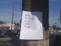 She voted for the war (seanbonner) Tags: she mike oreilly john moblog for bill war clinton politics hillary hillaryclinton obama mccain nou voted barackobama barrack ronpaul huckabee hillarypaul barrackobama yesshedid shevotedforthewar