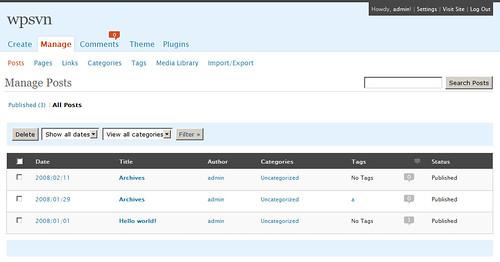 WordPress 2.5 admin görünümü
