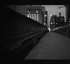 bridge (wvallen) Tags: bridge chicago mamiya mediumformat earlymorning vanburen ilforddelta3200 lookingeast f19 ilfosols asa1600