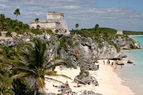 The castle and beach at Tulum