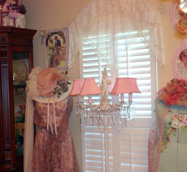 pink window crystals lace victorian romantic cherubs floorlamp dressforms shabbychic vintagedress vintagehats countryvictorian lacevalance