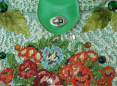 Seafoam Raffia Vintage Purse (JoulesVintage) Tags: green unique oneofakind 1960s jewels outrageous beaded overthetop seedbeads vintagepurse wildandwonderful highlyembellished