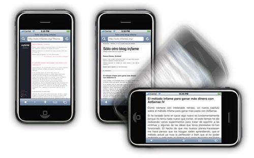 Funcionamiento perfecto del blog en un iPhone, comparando como era la versión anterior y como es la actual tanto en modo vertical como apaisado