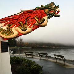 Dragin in the fog (rrestout) Tags: sculpture 222naturalphenomenon vancouver japanese sunrise bench canada fog 309marinefeature sea