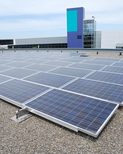 The solar panels supply about 30 percent of the power for the building