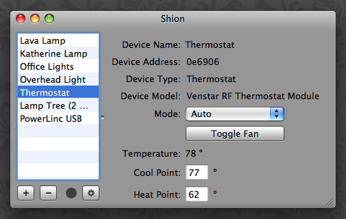 Shion: Thermostat controls