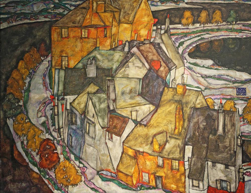 Egon Schiele, Der Häuserbogen II (Inselstadt) [Crescent of Houses II (Island Town)], 1915