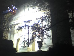 NYPL façade lit by klieg lights