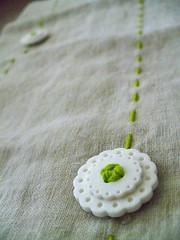 Embroidered Crochet Hook case with button flowers