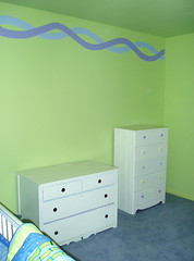 wall with dressers