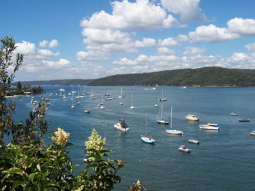 Looking south down Pittwater from Barrenjoey Road Palm Beach