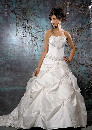 Strapless ball wedding gown with silver jewel