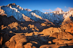 Lone Pine Peak and Mt. Whitney (sandy.redding) Tags: mountains landscape mountwhitney sierranevada alabamahills lonepinepeak treeofhonor2 shotwithstevemendenhall shotwithrogermoorehead nikkor18200mmf3556g