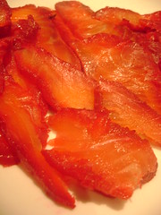 Sliced Salmon Marinated in Vodka and Beetroot
