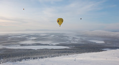 Snow Balloon (gimme shelter) Tags: trees snow mountains hot cold ice finland landscape air balloon freeze levi