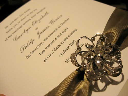 Custom Silk Boxes & Brooch Letterpress Invitations