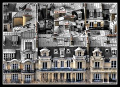 black&color Paris... (*bratan*) Tags: windows roof paris france building architecture bravo pattern haussmann selectivecolor themoulinrouge coonstruction