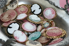Cameos (Sherry's Rose Cottage) Tags: pink vintage silver pastel brooch jewelry bling whimsical treasures cameos vintagejewelry vintagecameos