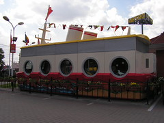 take the mc donalds cruise boat (skinny bunny) Tags: wood city trip family windows friends horse cats green dogs church grass buildings countryside cabin statues drawings romania villa graffitti shopwindows sibiu 3days arhitecture rooftoops bigsquare smallsquare nucet
