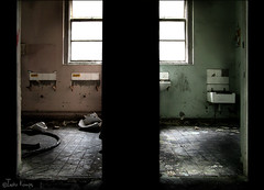 This is where your sanity gives in (moggierocket) Tags: uk light abandoned window bathroom sink decay doorway asylum washing mentalhospital whittingham menwomen chiascuro kattenmeisje