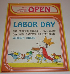 Peanuts Labor Day sign