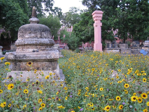 Stupas and flowers around Mahabodhi Temple