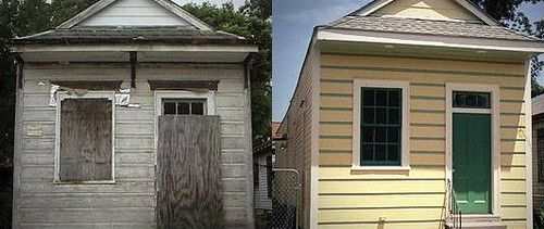 5109 Dauphine, before and after (by: Preservation Resource Center)