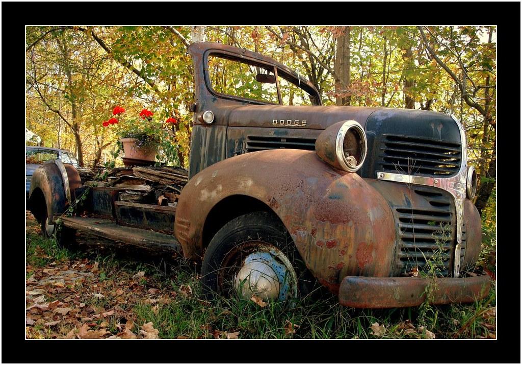 D O D G E - shining chrome through all that rust