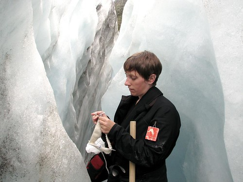 Knitting on a glacier