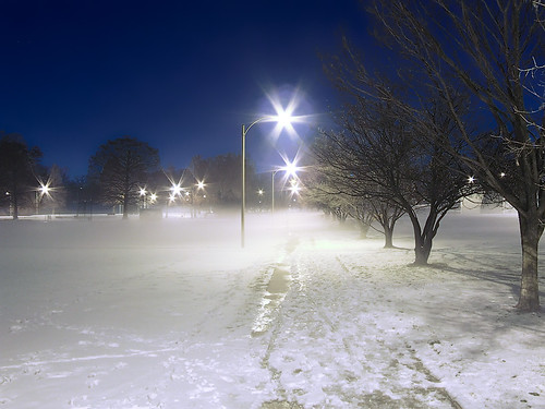 Francis Park, in Saint Louis, Missouri, USA - snow and fog