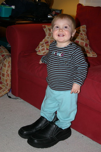 Anna in Daddy's shoes