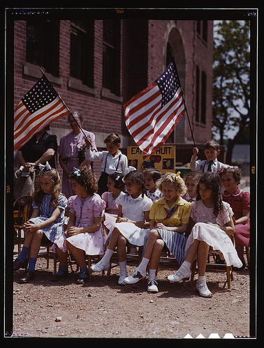 School children, half of Polish and half of Italian descent, at a festival in May 1942, Southington, Conn. (LOC)