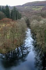 low river (jdpilgrim) Tags: blue trees reflection wales river low reservoir oswestry jdpilgrim