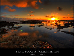 Tidal Pool at Kealia Beach (Jerimias Quadil) Tags: orange beach yellow clouds sunrise reflections wideangle karma bec stockphoto kealia tidalpools naturesfinest sigma1020 twtme hdrskies mywinners megashot betterthangood theperfectphotographer