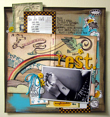 Rest - Scrapmojo #7 (Michelle Alynn) Tags: yellow trash ink scrapbooking colorful walnut