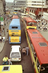 Bus Jams in Sheffield, July 1991. (Lady Wulfrun) Tags: bridge bus buses shopping war chaos traffic sheffield july saturday line ladys 1991 haymarket jam 1986 wicker deregulation