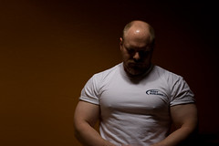 What have I become (todd*) Tags: light shadow shirt self arms muscle chest tshirt bodybuilding pumped introspection bodybuildingcom