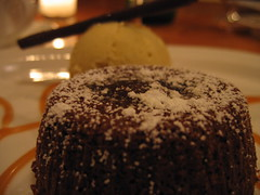 Warm lava chocolate cake.  Vanilla bean ice cream.