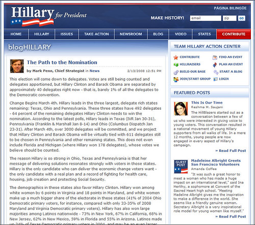 Hillary Clinton for President - Blog