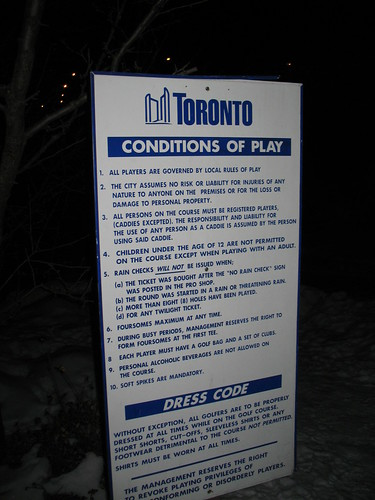 Official City of Toronto Conditions of Play for Golf