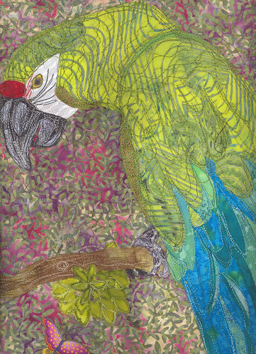 Oscar Bird threadpainted art quilt - private collection