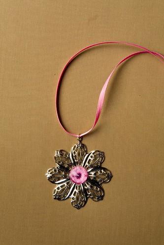 Pink Floral Ribbon Choker
