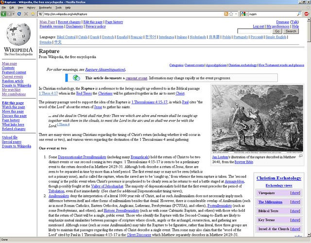 Rapture: Wikipedia page on 21 May, 2011