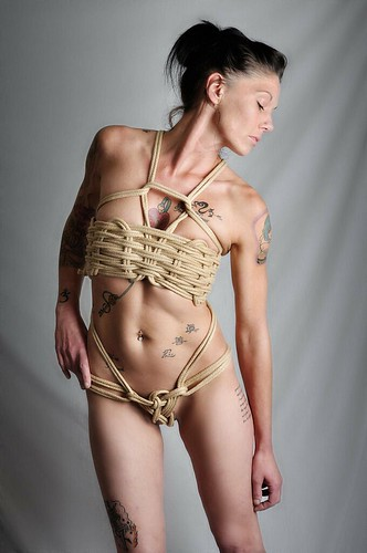 woman sexy rope lingerie corset tied shibari
