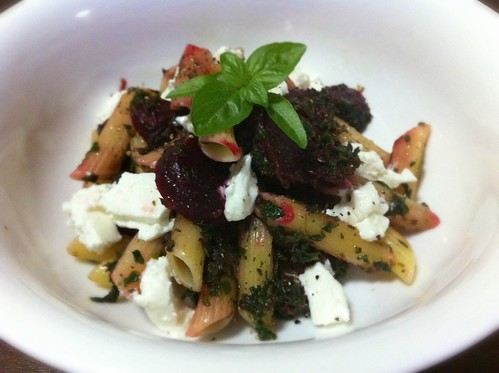 Penne with Beetroot, Spinach & Goat's Cheese by mjd-s