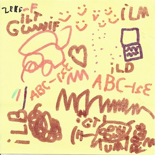 Zeke\'s Post-It drawings (June 11, 2011)