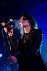 H.I.M. (meg bourne) Tags: show lighting blue light color colour colors vancouver pose him lights concert colours bright expression cigarette smoke gig band smoking his venue ville bluelight majesty infernal valo villevalo cigarettesmoke hisinfernalmajesty konzertfotos