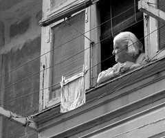 Life's spectator (archidave) Tags: old portrait blackandwhite bw woman nature lady gut arty time balcony traditional watching malta line spectator washing balcont thegut