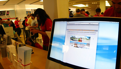 Advertising 14degrees website at the Apple Store in Tampa, Florida, USA