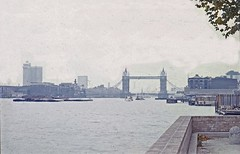 Tower Bridge & Guy's Hospital from closed entrance to old London dock, Wapping Pierhead, 13 Oct 1973 (JB photographer) Tags: city thames towerbridge 35mm river dock docklands re 1973 wapping eastlondon 1000views topcon copyrightjonathanbarkerphotographer